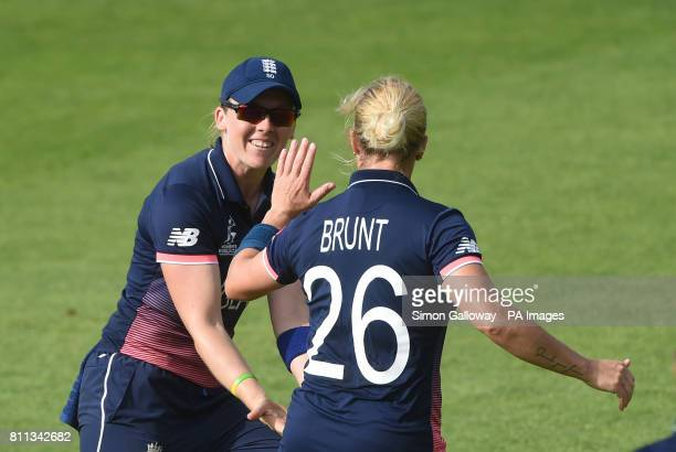 England's Katherine Brunt celebrates getting out Australia's Ashleigh Gardner during the ICC Women's World Cup match at the County Ground Bristol