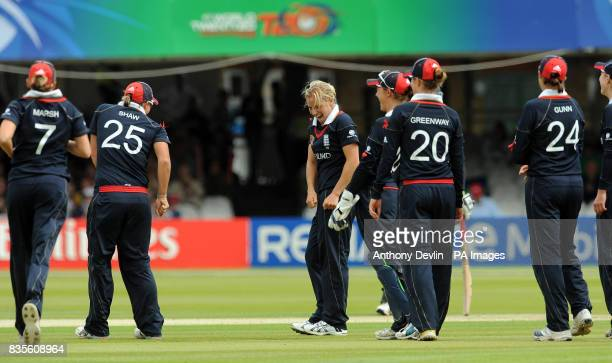 England's Katherine Brunt celebrates with a dance after taking the wicket of New Zealand's Rachel Priest during the Final of the Women's ICC World...