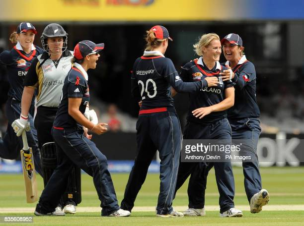 England's Katherine Brunt is congratulated after taking the wicket of New Zealand's Rachel Priest during the Final of the Women's ICC World Twenty20...