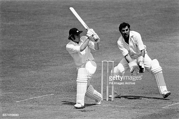 England's Keith Fletcher clips the ball to the boundary watched by India wicketkeeper Farokh Engineer