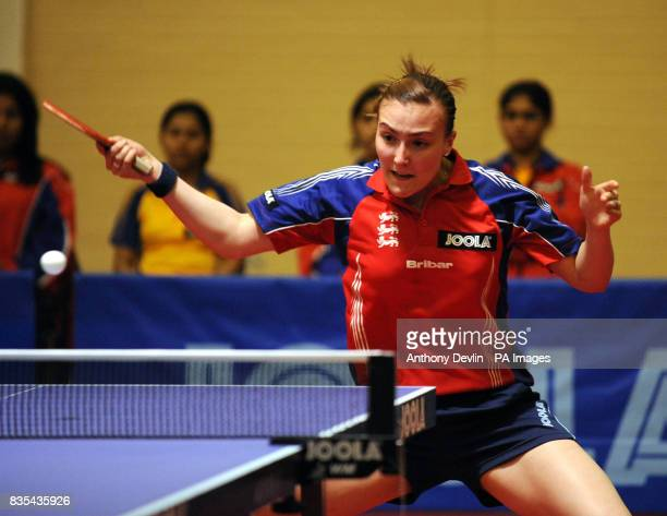 England's Kelly Sibley in action during India's Table Tennis Tour at Dormers Wells Leisure Centre in Southall London