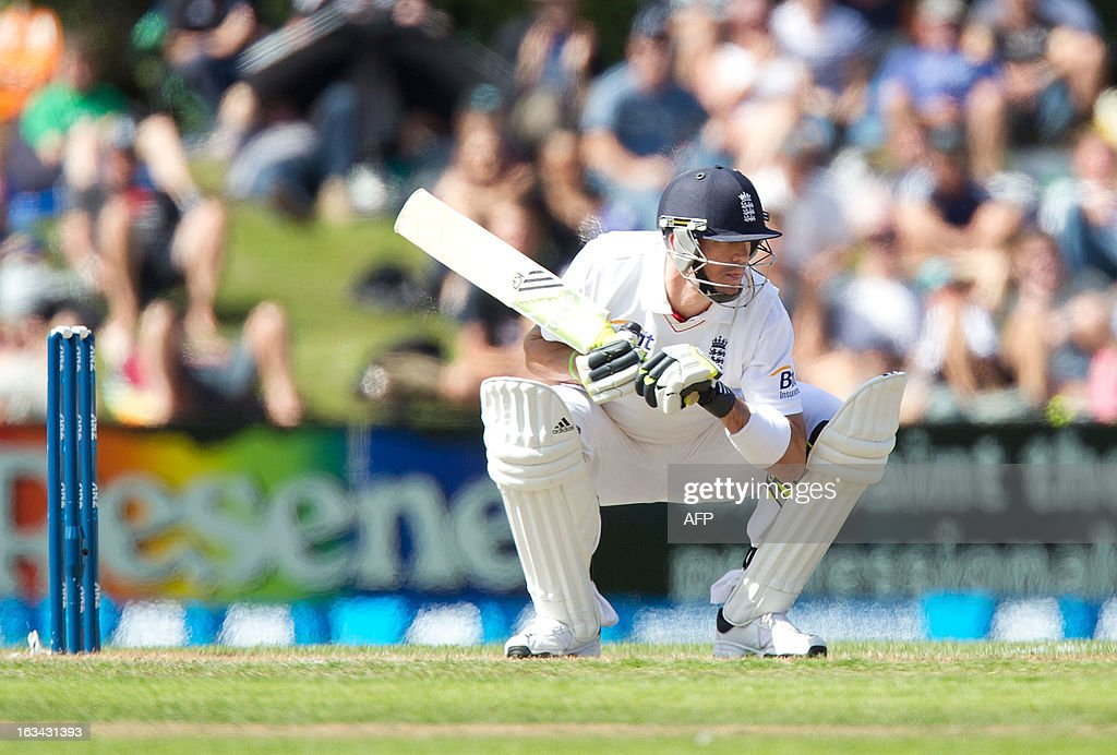England's Kevin Pietersen bats during day four of the first international cricket test match between New Zealand and England played at the University Oval park in Dunedin on March 10, 2013. AFP PHOTO / Marty MELVILLE