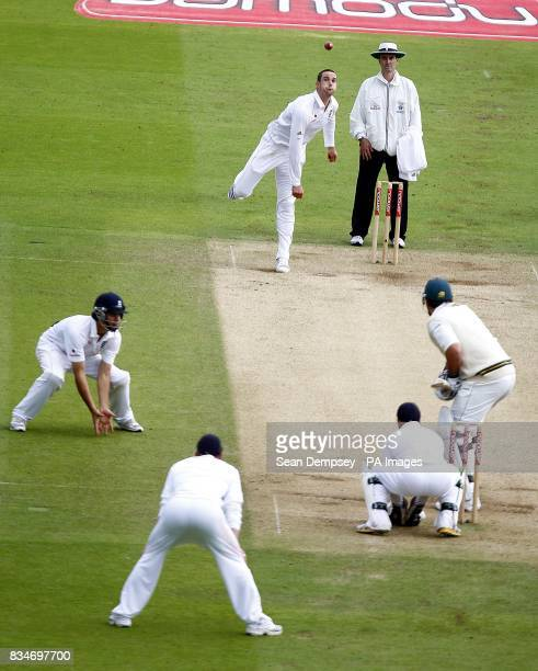 England's Kevin Pietersen bowls to South African captian Graeme Smith during The First npower Test match at Lord's Cricket Ground London