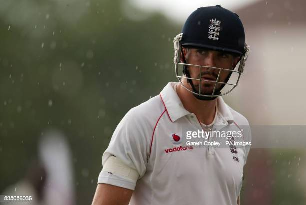 England's Kevin Pietersen during a rain shower during the First Test at Sabina Park Kingston Jamaica