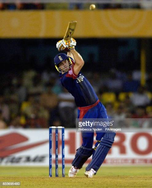 England's Kevin Pietersen hits a boundary against West Indies during the ICC Champions Trophy match at the Sardar Patel Stadium Ahmedabad India
