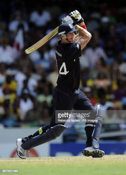 England's Kevin Pietersen hits the ball for 6 runs during the ICC World Twenty20 match at the Kensington Oval Birdgetown Barbados