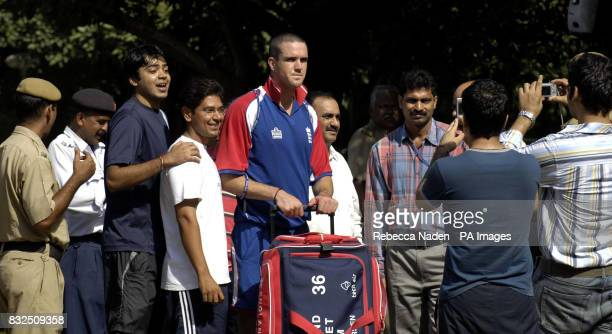 England's Kevin Pietersen is photographed with Indian fans during a practice session at the Siri Fort Sports Complex Delhi India