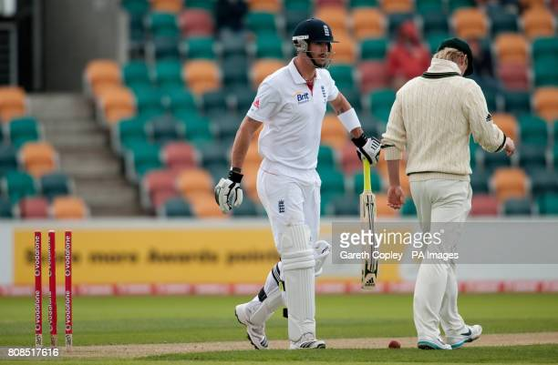England's Kevin Pietersen leaves the field after being dismissed Australia A's Steve O'Keefe during the tour match at the Bellerive Oval Hobart...