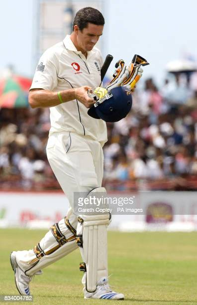 England's Kevin Pietersen leaves the field after being dismissed by Sri Lanka's Lasith Malinga during Third Test match at Galle International Stadium...