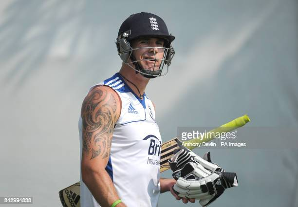 England's Kevin Pietersen prepares for a nets practice session at the Sardar Patel Stadium Ahmedabad India