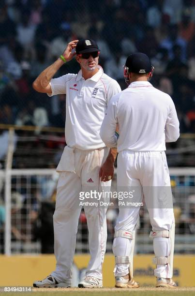 England's Kevin Pietersen speaks with Matt Prior during the fifth day of the First Test Match at the M A Chidambaram Stadium in Chennai India