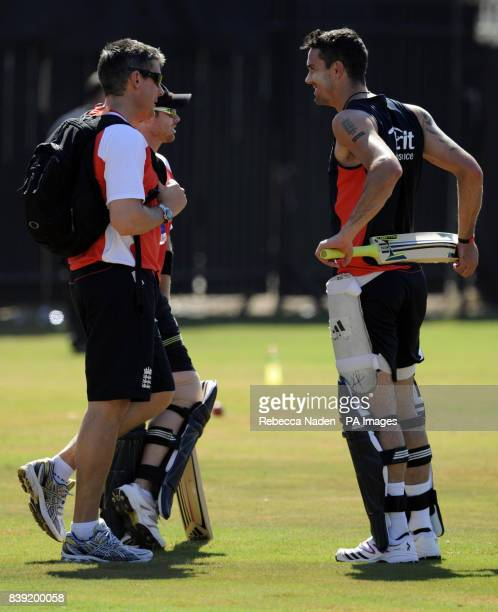 England's Kevin Pietersen with England selector Ashley Giles during the nets session at the Chidambaram Stadium Chennai India