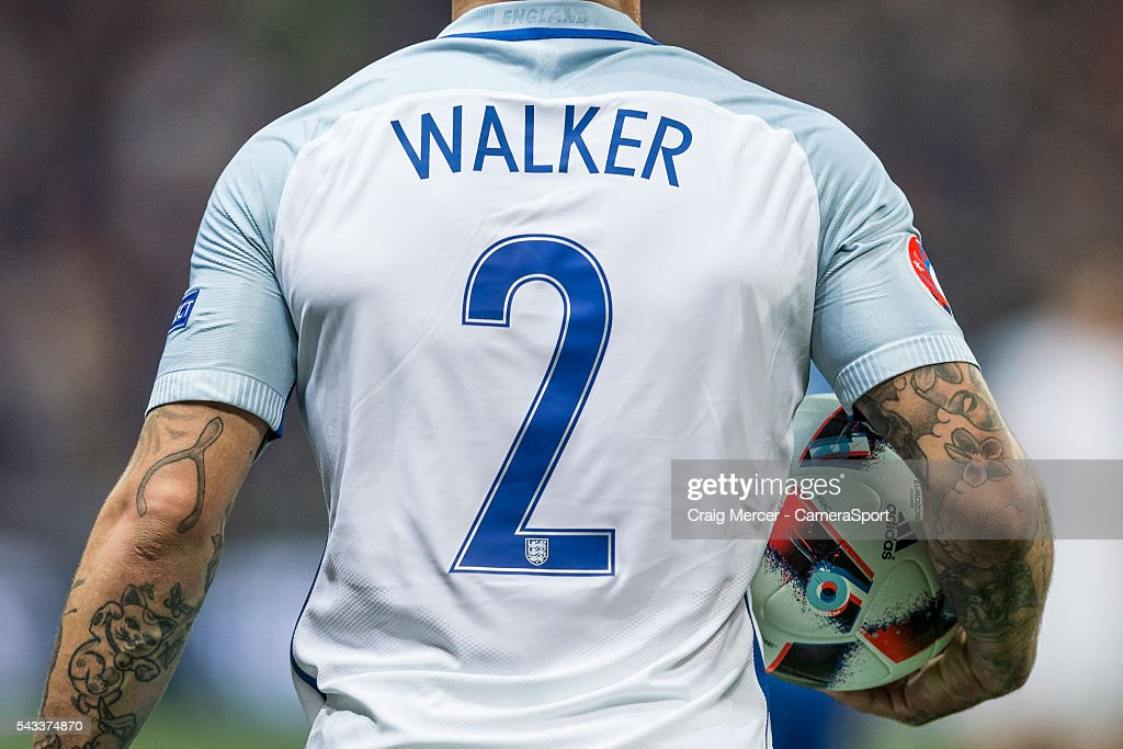 England's <a gi-track='captionPersonalityLinkClicked' href=/galleries/search?phrase=Kyle+Walker&family=editorial&specificpeople=5609702 ng-click='$event.stopPropagation()'>Kyle Walker</a> during the UEFA Euro 2016 Round of 16 match between England and Iceland at Allianz Riviera Stadium on June 27 in Nice, France.