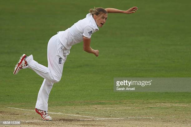 England's Laura Marsh bowls during day three of the Kia Women's Test of the Women's Ashes Series between England and Australia Women at The Spitfire...