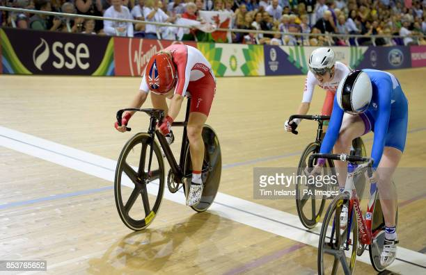 England's Laura Trott beats Wales' Elinor Barker in the final sprint of the 25km points race to take Gold at the Sir Chris Hoy Velodrome during the...