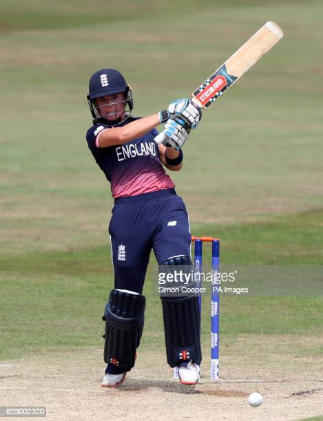England's Lauren Winfield hits out during the 2017 ICC Women's World Cup warmup match at the 3aaa County Ground Derby