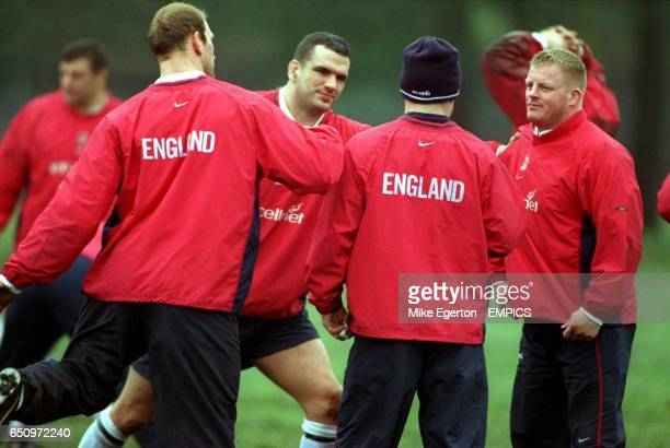 England's Lawrence Dallaglio Martin Johnson Neil Back and Dorian West