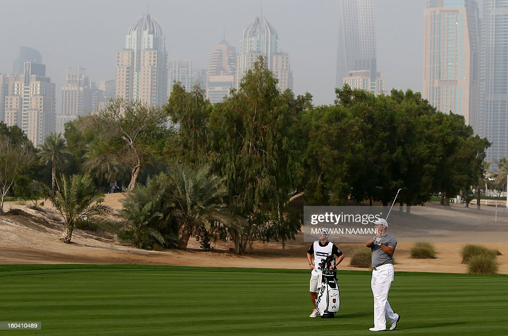 England's Lee Westwood hits off the tee box during the first round of the Dubai Desert Classic golf tournament in the Gulf emirate of Dubai on January 31, 2013.