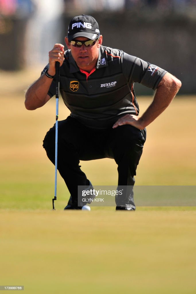 England's Lee Westwood lines up a putt on the ninth green during the second round of the 2013 British Open Golf Championship at Muirfield golf course at Gullane in Scotland on July 19, 2013 .