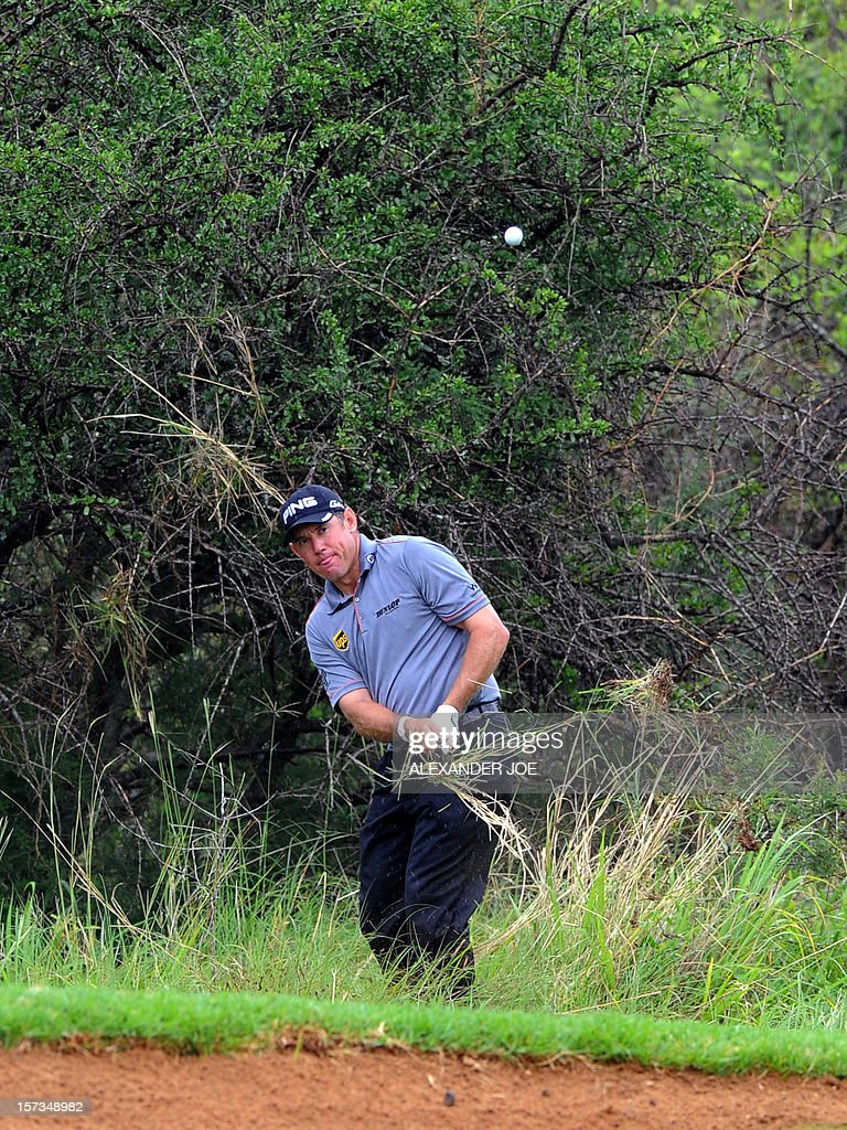 Englands Lee Westwood plays a shot on the 14th during the 2012 Nedbank Golf Challenge in Sun City on December 2 ,2012. PHOTO / Alexander Joe