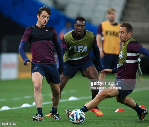 England's Leighton Baines Danny Welbeck and Phil Jagielka during a training session at the Estadio do Sao Paulo Sao Paulo Brazil