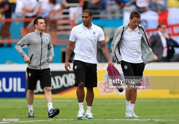 England's Leighton Baines Glenn Johnson and Phil Jagielka