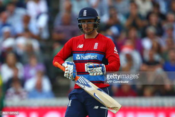 England's Liam Livingstone breaks his bat during the second international Twenty20 cricket match between England and South Africa at The Cooper...