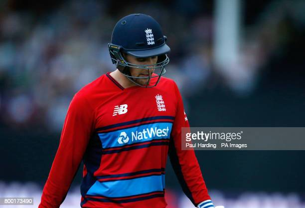 England's Liam Livingstone looks dejected after being run out during the second NatWest T20 Blast match at the Cooper Associates County Ground Taunton