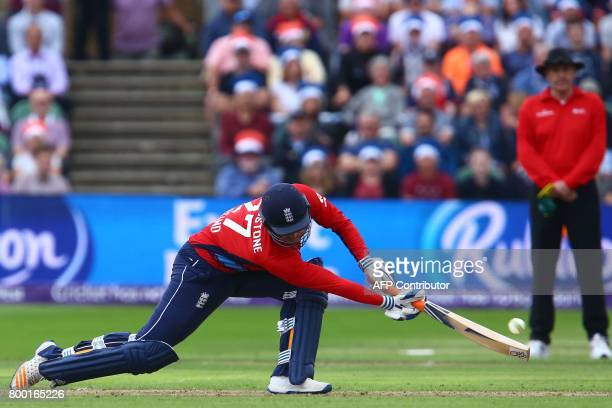 England's Liam Livingstone plays a shot during the second international Twenty20 cricket match between England and South Africa at The Cooper...