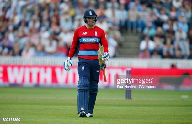 England's Liam Livingstone waits for a replacement bat after his breaks during the second NatWest T20 Blast match at the Cooper Associates County...