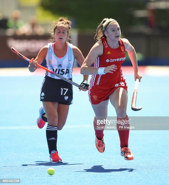 England's Lily Owsley and Argentina's Rocio Sanchez during the Investec International match at Lee Valley Hockey Centre London