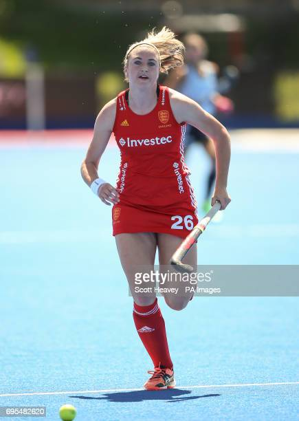 England's Lily Owsley during the Investec International match at Lee Valley Hockey Centre London