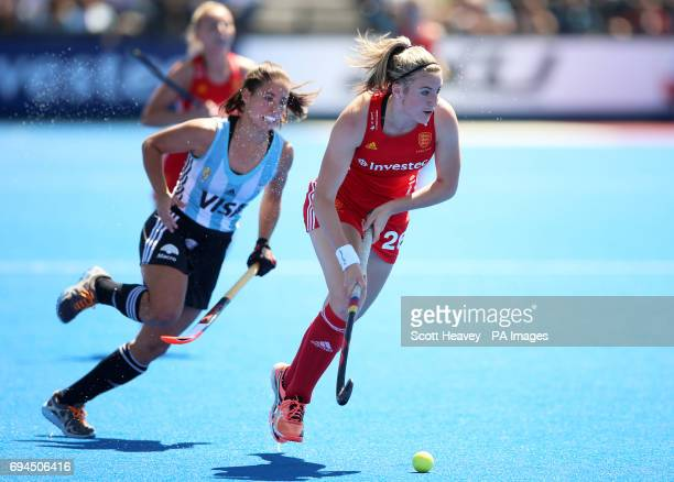 England's Lily Owsley in action during the Investec International match at Lee Valley Hockey Centre London