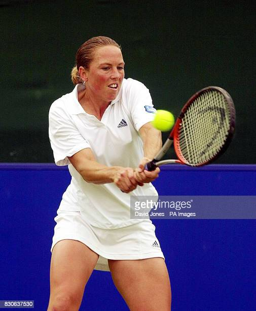 England's Lucie Ahl in action against Luxembourg's Anne Kramer during the DFS Classic Ladies International Tennis at Edgbaston Priory Club Edgbaston...