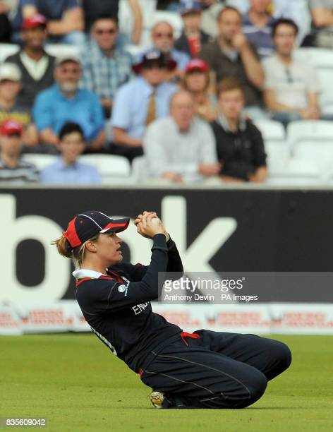 England's Lydia Greenway catches New Zealand's Sara McGlashan off the bowling of Jenny Gunn during the Final of the Women's ICC World Twenty20 at...