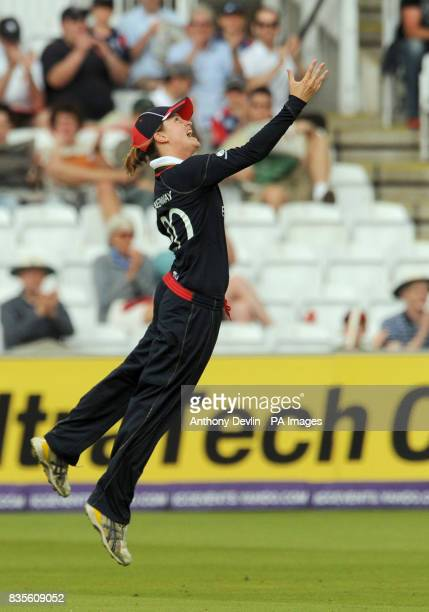 England's Lydia Greenway celebrates catching New Zealand's Sara McGlashan off the bowling of Jenny Gunn during the Final of the Women's ICC World...