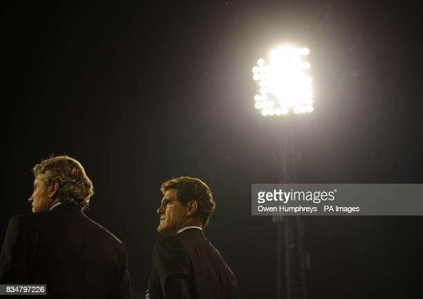 England's manager Fabio Capello and general manager Franco Baldini prior to kick off