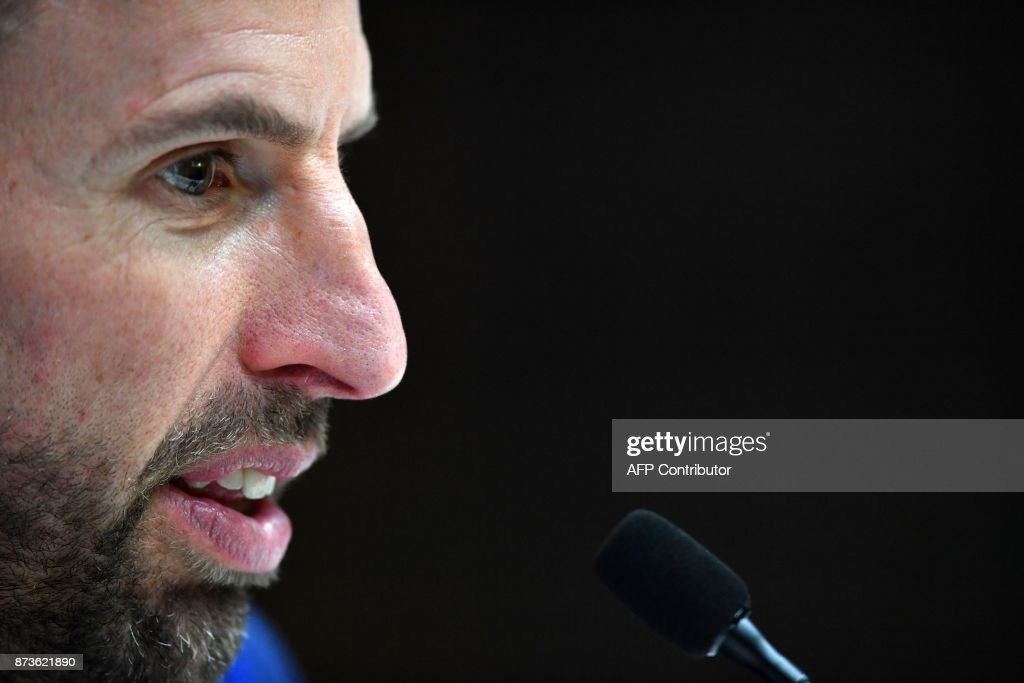 England's manager Gareth Southgate answers questions from members of the media at a press conference at Tottenham Hotspur's Enfield Training Centre, north-east of London, on November 13, 2017 on the eve of their International friendly football match against Brazil. / AFP PHOTO / Ben STANSALL / NOT