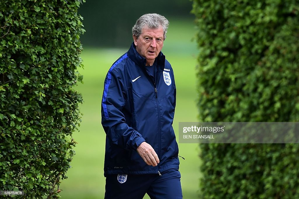 England's manager Roy Hodgson attends a team training session in Watford, north of London, on May 30, 2016. England play against Portugal in a friendly match at London's Wembley Stadium on Thursday June 2, 2016. / AFP / BEN