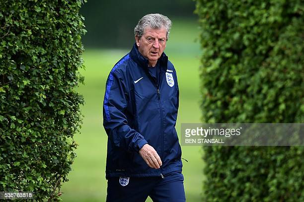 England's manager Roy Hodgson attends a team training session in Watford north of London on May 30 2016 England play against Portugal in a friendly...