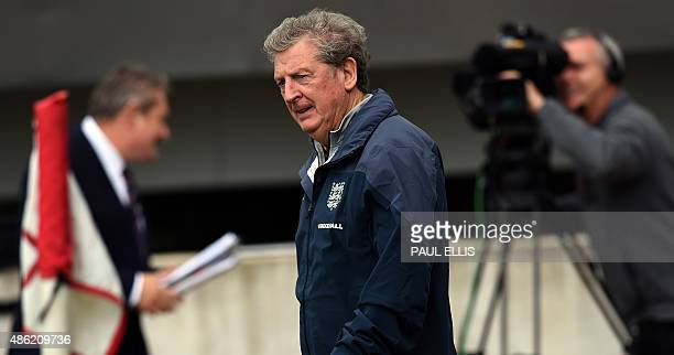 England's manager Roy Hodgson takes a team training session at St George's Park BurtonuponTrent central England on September 2 ahead of their UEFA...