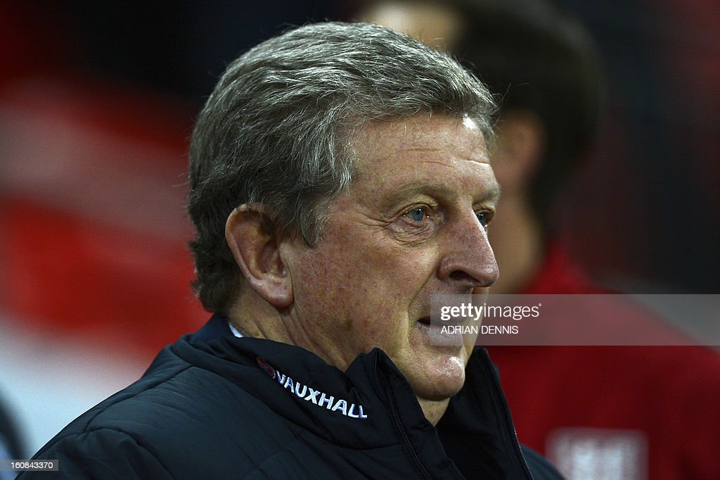 England's manager Roy Hodgson takes his seat before the start of the international friendly football match between England and Brazil at Wembley Stadium in north London on February 6, 2013. England won 2-1. AFP PHOTO / ADRIAN DENNIS NOT FOR MARKETING OR ADVERTISING USE / RESTRICTED TO EDITORIAL USE