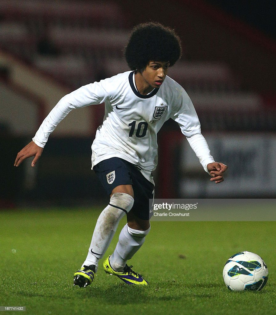 England's Marcus Edwards looks to attack during the Victory Shield match between England U16 and Northern Ireland U16 at Goldsands Stadium on November 08, 2013 in London, England.