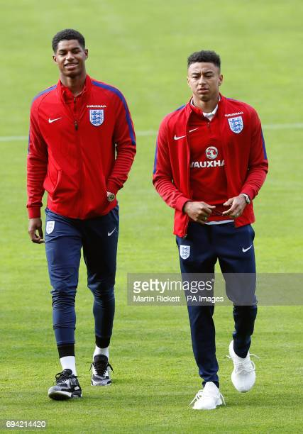 England's Marcus Rashford and Jesse Lingard during a squad walk around at Hampden Park Glasgow
