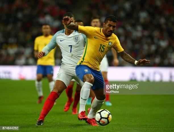 England's Marcus Rashford and Paulinho of Brazil during International Friendly match between England and Brazil at Wembley stadium London on 14 Nov...