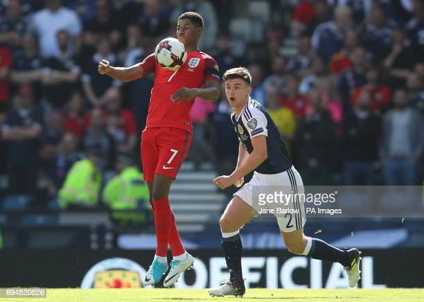 England's Marcus Rashford and Scotland's Kieran Tierney battle for the ball during the 2018 FIFA World Cup qualifying Group F match at Hampden Park...