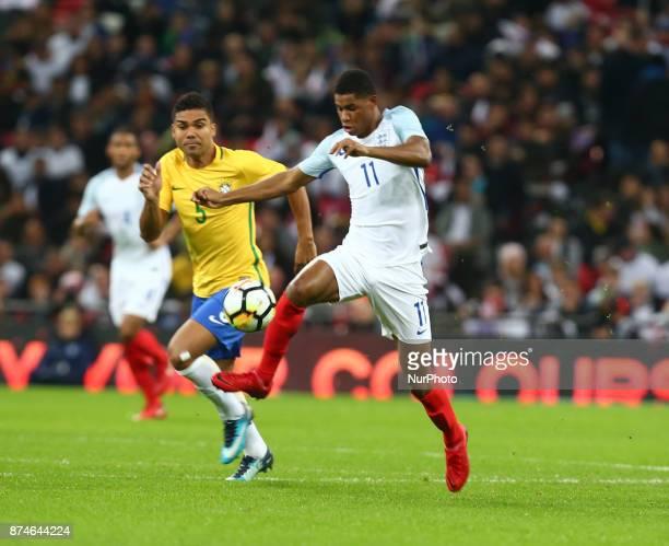 England's Marcus Rashford during International Friendly match between England and Brazil at Wembley stadium London on 14 Nov 2017