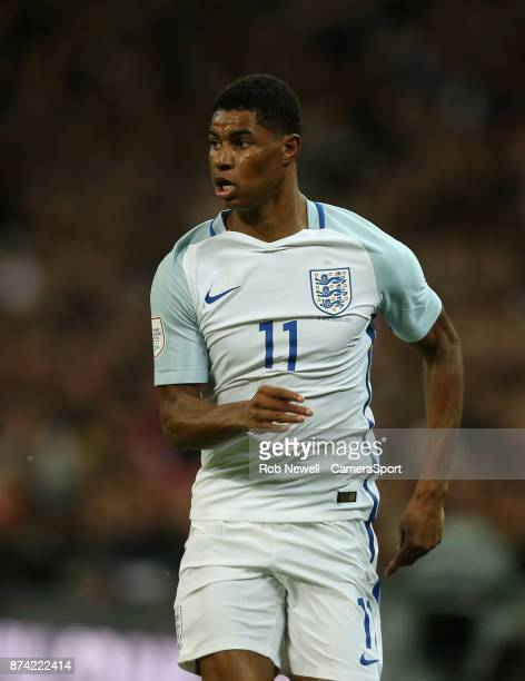 England's Marcus Rashford during the Bobby Moore Fund International between England and Brazil at Wembley Stadium on November 14 2017 in London...