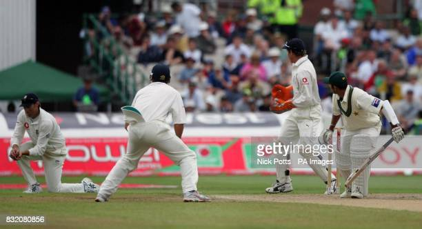 England's Marcus Trescothick catches Pakistan's Faisal Iqball off the bowling of Monty Panesar during the third day of the second npower Test match...
