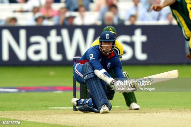 England's Marcus Trescothick sweeps a delivery from Pakistan's Mohammad Hafeez during his innings of 108 during the third NatWest Challenge match at...